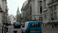 Road traffic near Big Ben in London, England Stock Footage