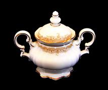 Expensive porcelain teaset sugar pot Stock Photos