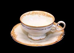 Expensive porcelain teaset tea cup and saucer Stock Photos