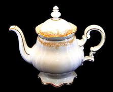 Expensive porcelain teaset - teapot Stock Photos