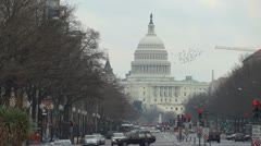 US Capitol and Pennsylvania Avenue Stock Footage