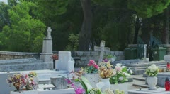 Cavtat cemetery Stock Footage