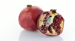 Half pomegranate fruit - stock footage