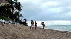 Friends at Beach Stock Footage