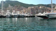 Circular view of yachts embarked at the port Stock Footage