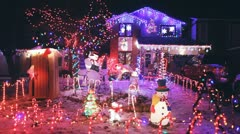 Holiday Lights On A House Stock Footage