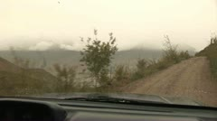 Driving in Wakhan Valley, Rain, Tajikistan Stock Footage