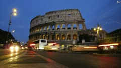 4K Time Lapse Rome Colosseum Colosseo Coliseum night dusk Stock Footage