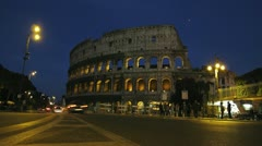 4K Time Lapse Rome Colosseum Colosseo Coliseum night dusk Stock Footage