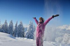 winter  fun and ski - stock photo