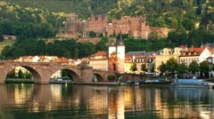 Ultra HD 4K Heidelberg skyline Neckar river Germany Stock Footage