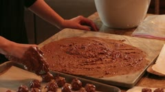 Mom making cherry Chocolate candy for Christmas HD 4841 Stock Footage