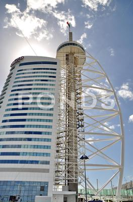 Stock photo of vasco de gama tower in lisbon, portugal