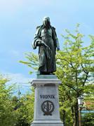 Statue Valentin Vodnik at Ljubljana in Slovenia Stock Photos