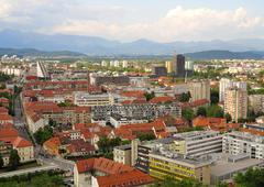 Beautiful  scene of capital city Ljubljana in Slovenia Stock Photos