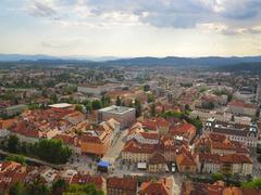 Beautiful  scene of capital city Ljubljana in Slovenia - stock photo