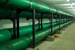 Underground sea water supply pipes Stock Photos