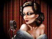 Vintage female singer Stock Illustration