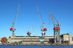 Cranes and harbour in Helsinki - stock photo