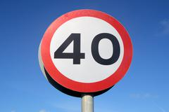 British 40 miles an hour speed limit sign Stock Photos