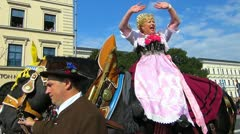 German Oktoberfest Germany Munich Beer Festival parade Stock Footage