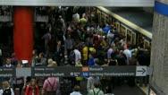 Oktoberfest Germany Munich Beer Festival Crowds in subway Stock Footage