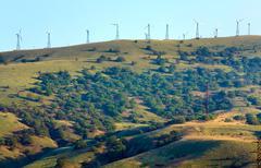 wind-driven generator on the ridge (meganom, crimea) - stock photo