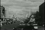 Wide shot of Boulder City parade  float Stock Footage