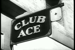 Close up of Club Ace sign - stock footage