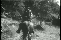 Rear view of group of men on horseback with wounded man Stock Footage
