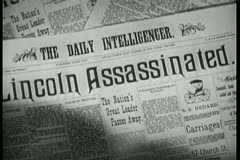 Close-up of  Lincoln Assassinated headline Stock Footage