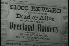 Close-up of Wanted Dead Or Alive headline - stock footage