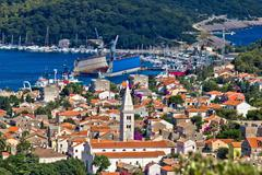 panoramic view - town of mali losinj - stock photo