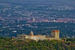 amazing medvedgrad castle & croatian capital zagreb - stock photo