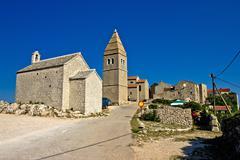 Mediterranean town of lubenice, island of cres Stock Photos