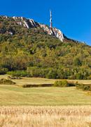Tv tower above beautiful cliffs, forrest & fields Stock Photos