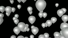 white balloon party with alpha - stock footage