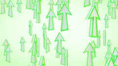 Green arrows fly upward loop Stock Footage