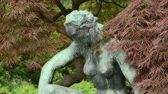 Japanese maple (Acer palmatum 'Dissectum') and Kneeling Women by Georg Kolbe - stock footage