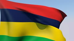 Flag of Mauritius HD Stock Footage