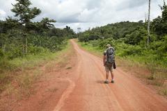 the road to the waiaipi - amapa, brazil - stock photo