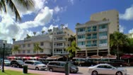 Art Deco area in Miami Beach along Ocean Drive Stock Footage