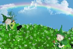 Irish leprechauns in shamrocks - stock illustration