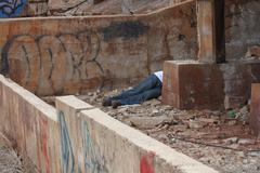 Dead Body at an Abandoned Building.JPG Stock Photos