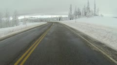 Driving winter snow road POV HD 0009 - stock footage