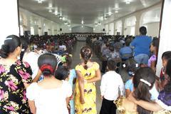 Church service - kosrae, micronesia Stock Photos