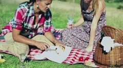 Two girlfriends prepare sandwiches on picnic, crane shot Stock Footage