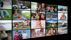 Lots of screens with videoclips of a happy family collage Stock Footage