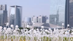 Guangzhou panoramic ground view from a flower field Stock Footage