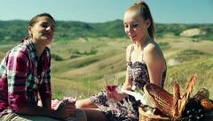Two girlfriends drinking wine on picnic, crane shot Stock Footage